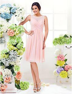 Lanting knälång Georgette brudtärna klänning - pärla rosa plus storlekar / nätt a-line juvel 2016 - Kr.590