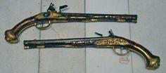 Austrian    Pair of Flintlock Holster Pistols, c. 1720    Walnut, steel, gold, and iron  - Art Institute of Chicago