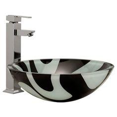 Round+Zebra+Design+Glass+Vessel+Sink