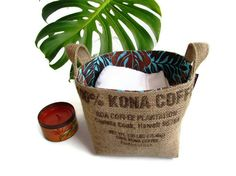 Repurposed Hawaiian coffee bag totes...perfect for storing crafts! (now I just need to find myself some coffee bags!)