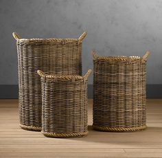 "Handwoven Rattan Baskets - Medium size 18""dia. x 24""H - for one corner in your living room for some throw blankets"