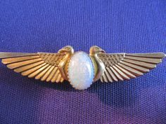 Egyptian Revival Brass Stylised Falcons (Horus) with Beautiful Opal Brooch Eye Of Horus, Falcons, Egyptian, Opal, Fashion Jewelry, Gemstone Rings, Brooch, Brass, Culture