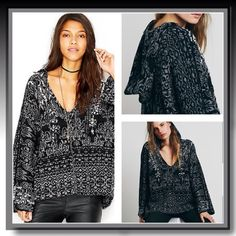 Free People Black Hooded Sweater Be cozy and warm in this Free People Fairisle Hoodie, wool blend, V-Neck, black multi... Free People Sweaters V-Necks