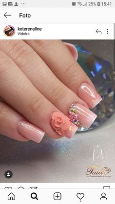 Bling Nail Art, Bling Nails, Red Acrylic Nails, Acrylic Nail Designs, Gel Overlay Nails, Mexican Nails, Classy Nail Designs, Party Nails, Rose Nails