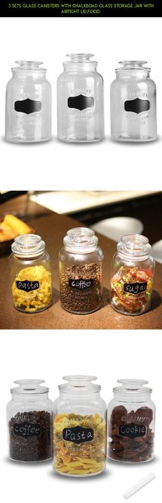 3 Sets Glass Canisters with Chalkboad Glass Storage Jar with Airtight Lid,Food. #tech #lids #kit #fpv #gadgets #with #parts #camera #airtight #products #drone #shopping #jars #plans #technology #racing #storage