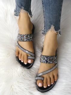 Shiny Sequins Embellished Toe Post Sandals
