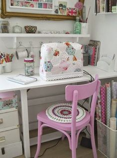 sewing space with a gorgeous pink painted chair and crochet seat pad. sewing machine cover is cute too! Sewing Nook, Sewing Spaces, My Sewing Room, Sewing Studio, Sewing Art, Pattern Sewing, Sewing Table, Sewing Room Organization, Craft Room Storage