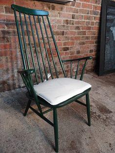 1960s design Lena Larsson for Nesto Pastoe retro green Chair #green #dark fabric #organic #shaped #60s #vintage #retro #euvintage