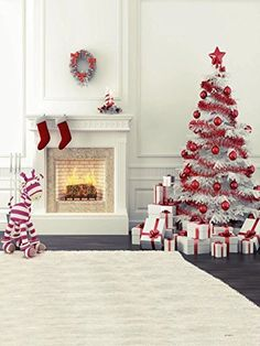 zebra fireplace christmas tree photography backdrops for children no crease photo studio background