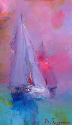 Painting by Yuriy Petrenko (Ukraine) Sailboat Art, Sailboat Painting, Sailboats, Seascape Paintings, Abstract Landscape, Painting Techniques, Watercolor Art, Cool Art, Sailing