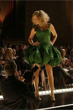 Serena in the famous green fluffy evening dress