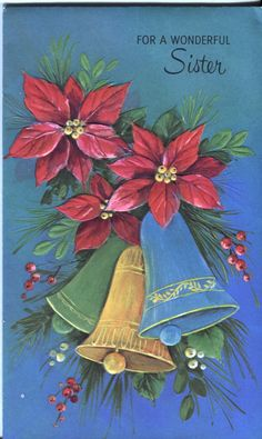 Vintage Norcross Christmas Card -  Bells and Poinsettias