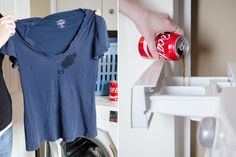28 Surprising Hacks to Remove Pretty Much Any Stain - Remove blood and grease stains with a can of cola. Add cola to your normal wash cycle for best results. Removing Lipstick Stains, Remove Rust Stains, Grease Stains, How To Remove Rust, Deep Cleaning Tips, House Cleaning Tips, Cleaning Hacks, Cleaning Products, Website