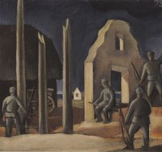 Jāzeps GROSVALDS | Latvian | Latvia 1891 – Paris, France 1920 | Post-Impressionism, Modernism.  Soldier in the Farmstead, 1916–17