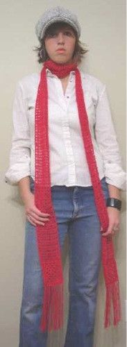 Simple long, narrow scarf with just one granny square at each end, the rest is done in filet...