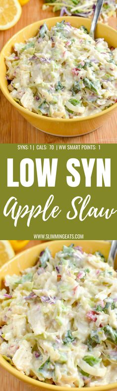 Sweet Tangy and Creamy Low Syn Apple Slaw - the perfect side dish for grilled meats and barbecues. Apple Coleslaw, Apple Slaw, Creamy Coleslaw, Diet Recipes, Cooking Recipes, Healthy Recipes, Slimming World Vegetarian Recipes, Slimming Recipes, Boxing Day Food