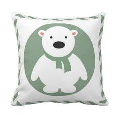 Kids Green & White Holiday Bear Pillow