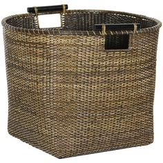 Split vine rattan basket with wood pole handles.  Love this in the bathroom with fluffy colored towels rolled up for your guests to grab,,,,