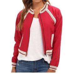 Free people jacket Red crochet detail Free People Jackets & Coats