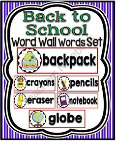 Back to School Word Wall Cards Set from A Teacher in Paradise on TeachersNotebook.com -  (6 pages)  - Here is a set of 19 back to school word wall cards and header that will support your language rich classroom.