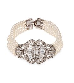 Art Deco Bridal Pearl and Crystal Bracelet
