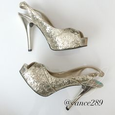 "Guess ""RuthAnn"" gold glitter slingback heels Insanely beautiful shoe! NWT paid $40 and would like to get that back as they have never been worn- offers welcome. All man-made materials. Size 8. Guess Shoes Heels"