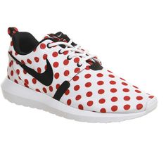 Nike Roshe Run Nm ($43) ❤ liked on Polyvore featuring shoes, athletic shoes, trainers, unisex sports, cushioned shoes, red athletic shoes, sport shoes, red dot shoes and nike
