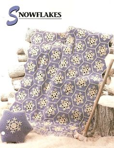 Crochet Snowflake Afghan and Pillow Pattern Set