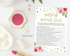 Get the party started with fun 'Nursery rhyme' game! Every baby shower has to have games and this one is the perfect ice breaker! #printable #babyshower #babyshowergames #babyshoweractivity #babyshowerstationery #SHdesigns