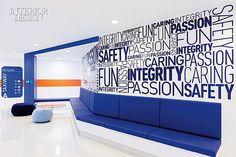 Flight Plan: Jet Blue's Headquarters by HLW International Interior Design Office Walls, Office Wall Art, Office Decor, Office Graphics, Window Graphics, Corporate Interiors, Office Interiors, Cl Design, Office Branding
