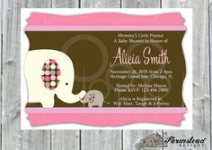 Elephant Baby Shower Invitation Pink and Blue by FarmsteadDesigns