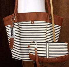 Striped Tote & Wristlet Set BLACK and WHITE TICKING  by BunkyBags,