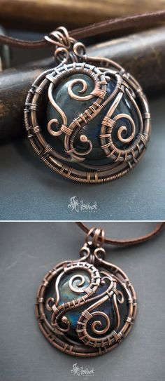 Big round wire wrapped pendant