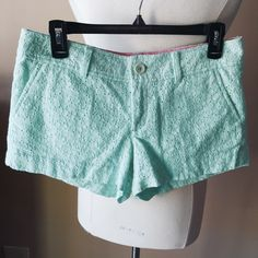 Lilly Pulitzer Walsh Shorts Eyelet Mint Green Cute shorts in green eyelet fabric. Look like new. Check out the $6 section near the bottom of my closet (before the sold items) for lots of bundle-worthy $6 items! 15% bundle discount on 2+ items in a bundle. Lilly Pulitzer Shorts