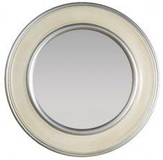 Espejo de madera redondo en tonos marfil y plata 90x5x90 cm.