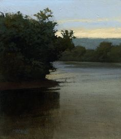 Marc Bohne Oil Landscape Painting - East Coast - Pond Near Raynham, 7 x 6 inches, oil on panel