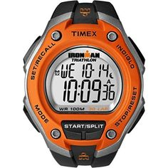 "Timex Men's T5K529  ""Ironman Traditional"" Black and Orange 30-Lap Sport Watch  #30Lap #Black #Ironman #Men's #Orange #Sport #T5K529 #Timex® #Traditional #Watch MonitorWatches.com"