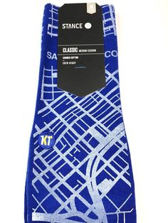 0927757d8 Stance Crew Socks San Francisco Road Map Blue Size M Men s 6-8.5  18