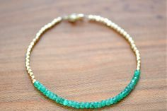 Emerald Bracelet with 14k Gold Fill Beads May by NipponekiJewelry, $85.00