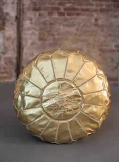 Handmade leather pouf - gold