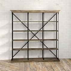 Trent Austin Design Mabie Etagere Bookcase & Reviews | Wayfair Etagere Bookcase, Framing Materials, Rustic Industrial, Wood Shelves, Wood And Metal, Kitchen Organization, Contemporary Design, Furniture, Home Decor