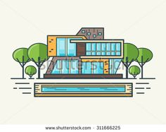 Illustration of modern house in linear flat style. House sale concept. Real estate concept. Elite house rental. Without transparencies