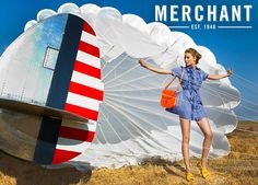 Fashion, clothes, parachutes, and planes. Photo by Giuliano Bekor for Merchant 1948