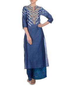 KRISHNA MEHTA Indigo Blue Kurta with Embroidered Palazzo Pants