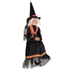 Sweet Mabel the Witch Halloween Figure has an antique look in more ways than one! This sweet, witchy old lady has her pet owl on her lap and a twinkle in her eye.
