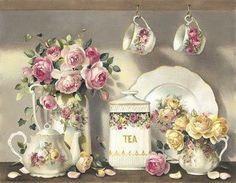 Vintage Tea And Roses - Desktop Nexus Wallpapers Vintage Tea, Vintage Party, Vintage Labels, Vintage China, Victorian Tea Sets, Victorian Era, My Cup Of Tea, High Tea, Afternoon Tea