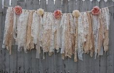 Shabby chic garland hand tied with tattered tea stained and ivory lace crepe bro. Shabby chic garland hand tied with tattered tea stained and ivory lace crepe brocade and linen and Shabby Chic Mode, Style Shabby Chic, Shabby Chic Bedrooms, Shabby Chic Kitchen, Shabby Chic Furniture, Shabby Chic Decor, Shabby Chic Boutique, Shabby Chic Curtains, Farmhouse Curtains