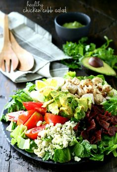 This Healthy Chicken Cobb Salad has all of the goodness you remember from the classic salad, but the flavor is kicked up in a major way! Healthy Salad Recipes, Healthy Snacks, Healthy Eating, Quinoa, Yogurt, Classic Salad, Keto, Paleo Diet, How To Make Salad