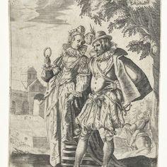 Wandelend paar, Gillis van Breen, after Adam van Noort, c. 1580 - c. 1600 - Rijksmuseum