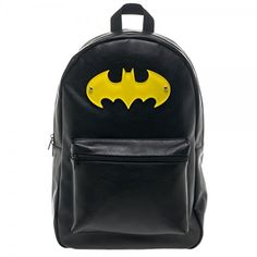 Sleek and stylish this Batman backpack features an acrylic logo and faux leather look. This backpack is perfect for roaming… Faux Leather Backpack, Black Backpack, Backpack Bags, Leather Purses, Fashion Backpack, Tote Bag, Travel Backpack, Batman Love, Batman Stuff
